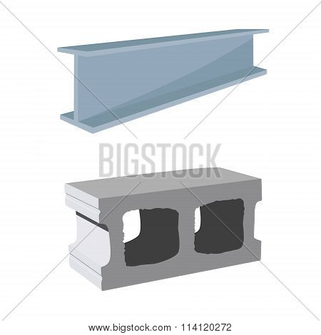 Steel Beam And Cement Block
