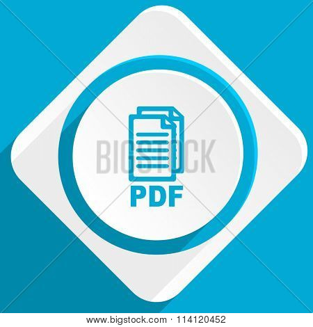 pdf blue flat design modern icon for web and mobile app,