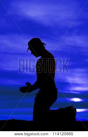 Silhouette Cowboy No Shirt Kneel Pray