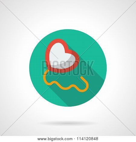 Heart with string round flat style vector icon