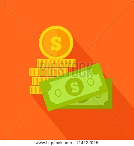 Coins and Banknotes Flat Design on Background