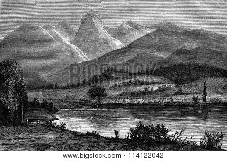 Example moraine landscape, Surroundings of Thun, Lake Gerzensee, basically the Stockhorn, vintage engraved illustration. Magasin Pittoresque 1876.