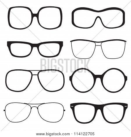 Glasses outline set. Sunglasses black silhouettes isolated on white background. Vector illustration.