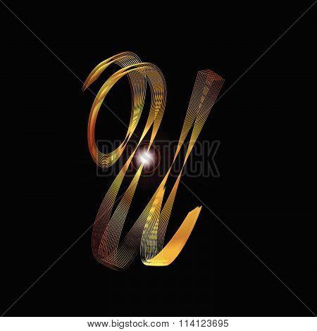 Letter U In Gold