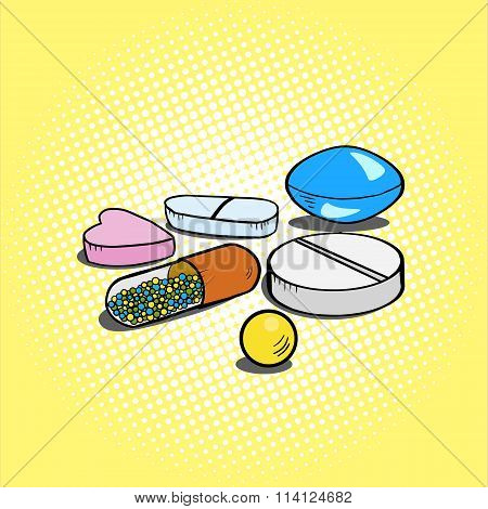Pills hand drawn pop art style vector