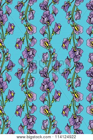Seamless Pattern With Realistic Graphic Flowers - Sweet Pea - Hand Drawn Background.