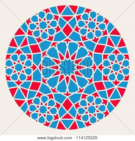 Vector Blue Red Islamic Ornamental Rosette Circle Design Element