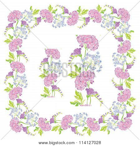 Set Of Ornaments - Decorative Hand Drawn Floral Border And Frame With Sweet Pea And Gardenia Flowers