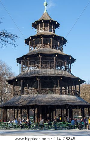 Chinese Tower In Englischer Garten, Munich, Germany