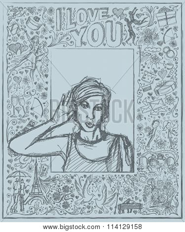 Love concept. Vector Sketch, comics style female overhearing something with her ear and hand, very surprised, against background with love story elements