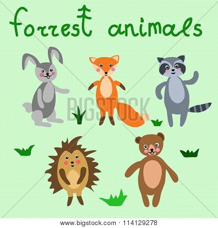 Set of cute forrest animals