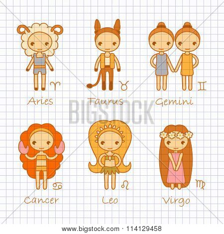 vector zodiac signs Aries, Taurus, Gemini, Cancer, Leo, Virgo
