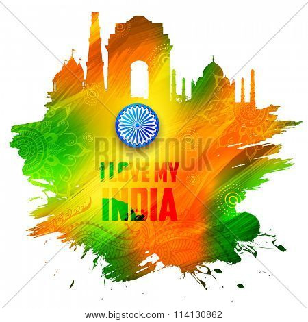 illustration of abstract Indian background with historical monument