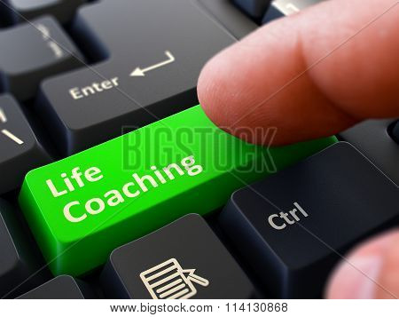 Life Coaching Concept. Person Click Keyboard Button.