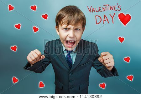 business style teenage boy clenched his fists shouting Valentine