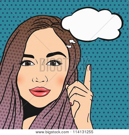 Vector Pop Art Brunette Woman Thinking And Pointing Upwords On Thought Cloud For Your Message