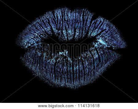 blue lips imprint isolated on black background