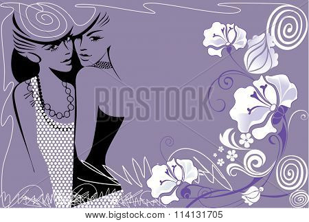 fashion ladies with flowers background