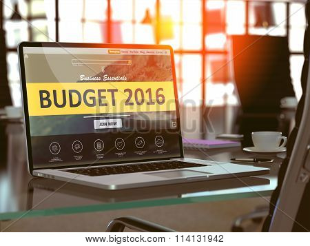 Laptop Screen with Budget 2016 Concept.