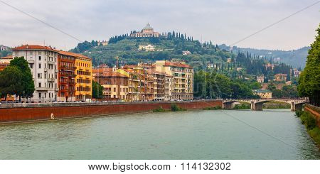Adige River Embankment in Verona, Italy