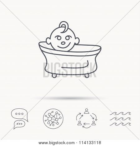 Baby in bath icon. Toddler bathing sign.