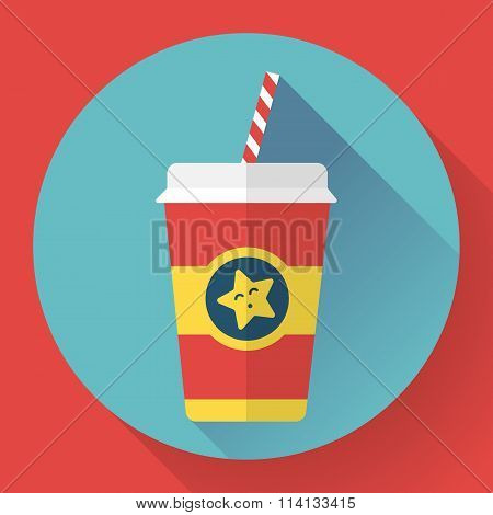 Paper coffee cup with straw. Hot outdoor drink. Flat style design - vector