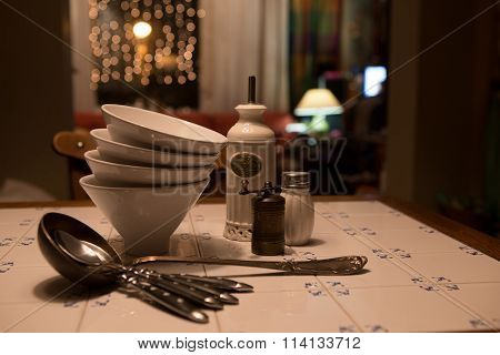Silverware On Table For Serving