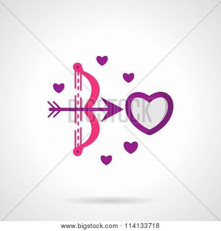 Cupids shot bright flat vector icon