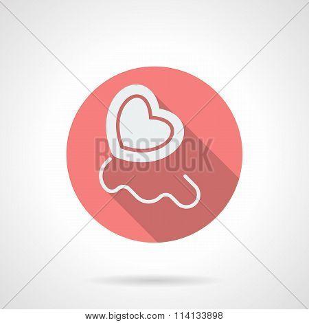 Round pink heart balloon flat vector icon