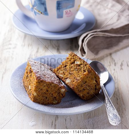 Homemade Carrot And Banana Cake With Nuts And Spicessurface