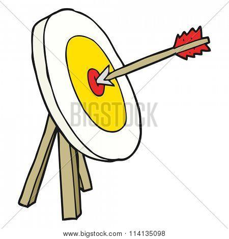 freehand drawn cartoon archery target