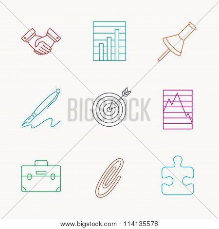 Handshake, graph charts and target icons.