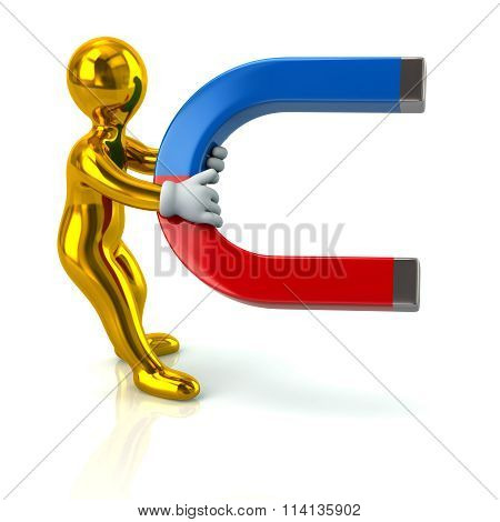 Illustration Of Cartoon Golden Man With A Horseshoe Magnet