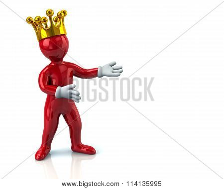 Red Cartoon Character Man With Crown Presenting Something