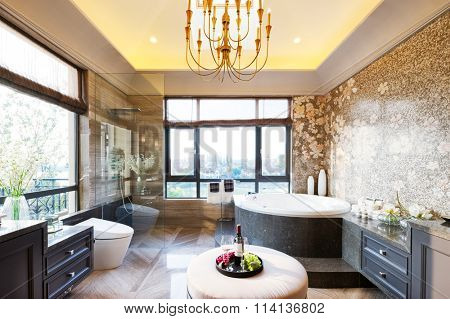 decoration and furniture in modern bathroom