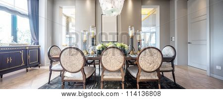 pano decoration and furniture in modern dining room