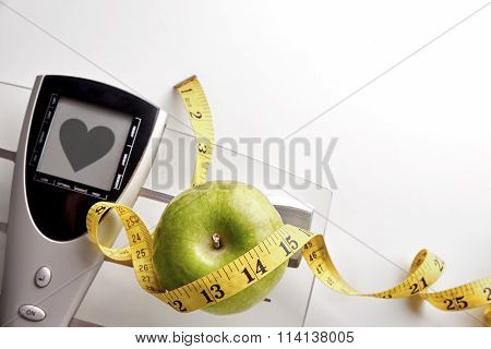 Scale With Healty Heart Message Weight Control Concept Top