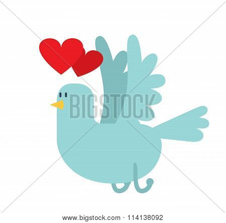 Dove with hearts vector icon illustration