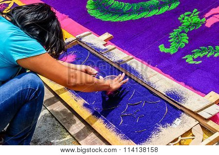 Girl Making Lent Processional Carpet, Antigua, Guatemala