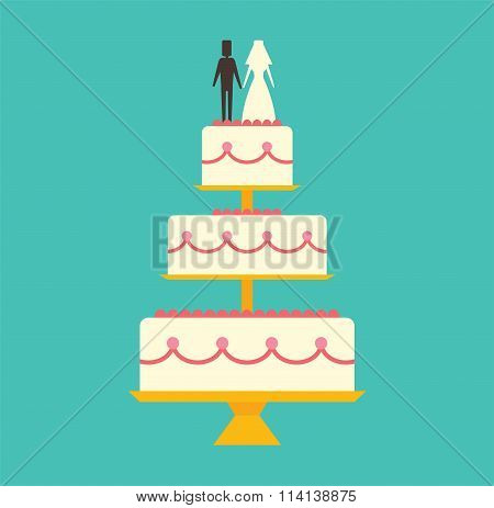 Wedding cake Isolated on background vector illustration