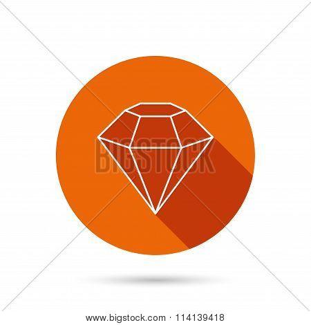 Diamond icon. Brilliant gemstone sign.