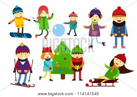 Christmas kids playing winter games