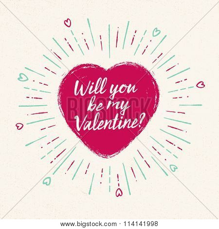 Handwritten, vintage flavored Valentine's Card - Will You Be My Valentine? - EPS10