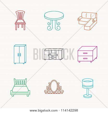 Corner sofa, table and cupboard icons.