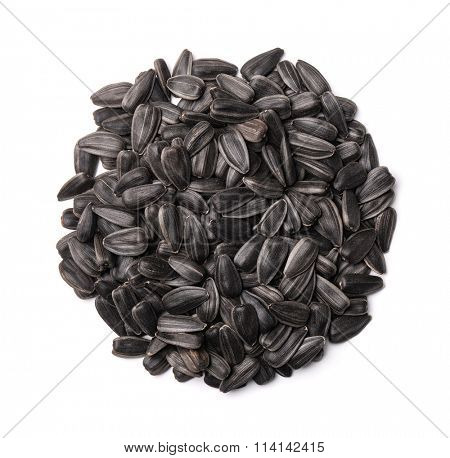 Top view of sunflower seeds isolated on white