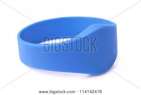 Blue silicone RFID bracelet isolated on white
