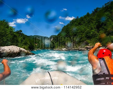 rafting on the fast mountain river