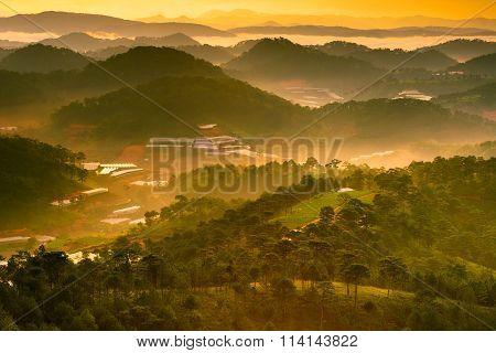 Dreamy Dalat city in the morning. Lam Dong. Vietnam