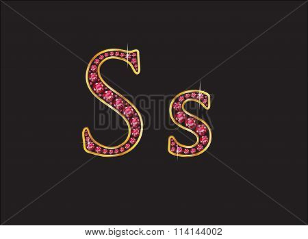 Ss Ruby Jeweled Font With Gold Channels