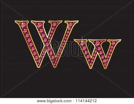 Ww Ruby Jeweled Font With Gold Channels